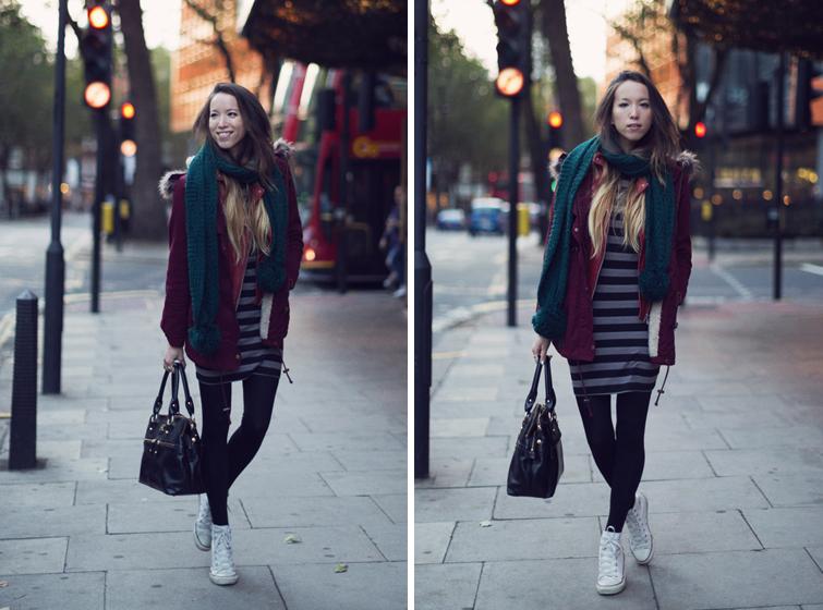 Winter outfits body con dress fur trim hood coat