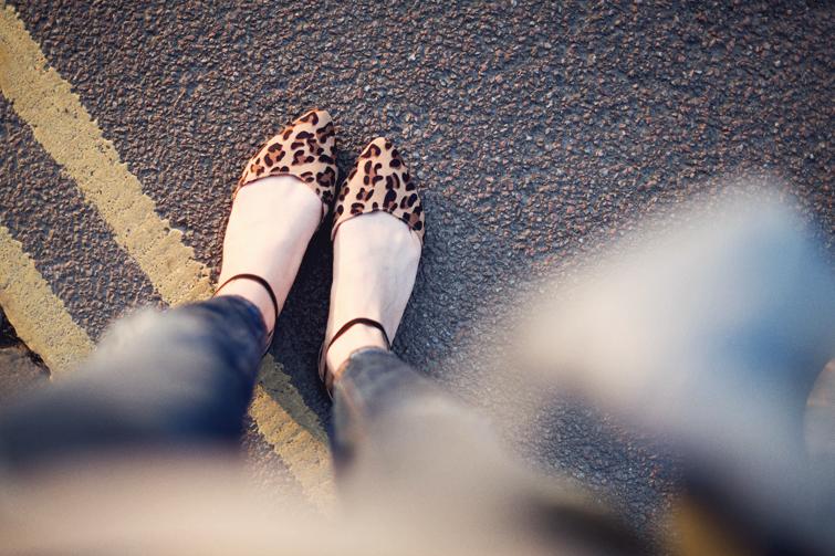 Primark animal print ankle strap flats