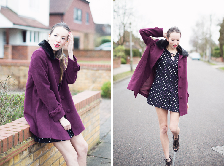 Purple coat | polkadot dress | lace boots