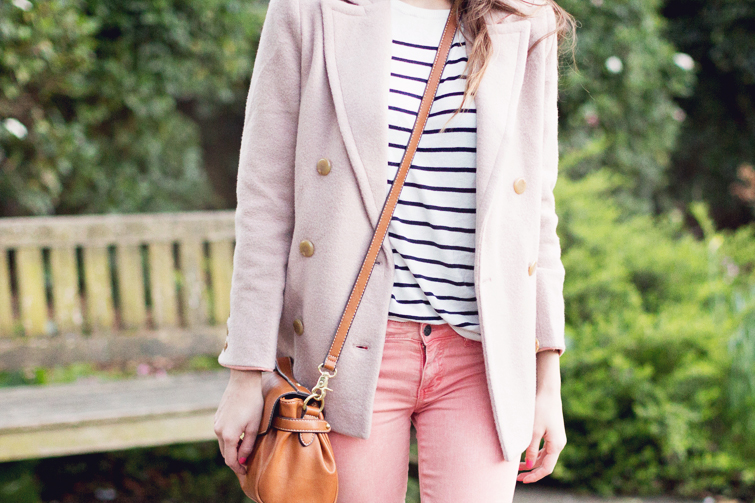 Girl in the Lens | breton stripe top and pastel coat and jeans