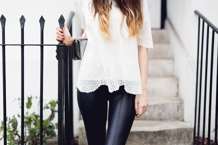 Lace cut out top and leather leggings