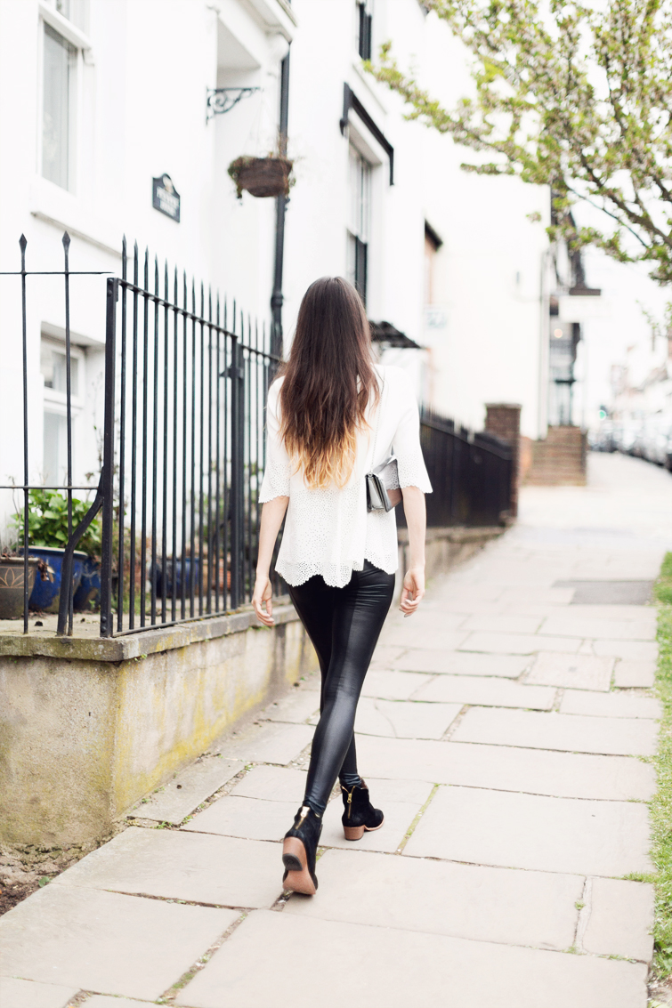 Leather leggings and white cut out top