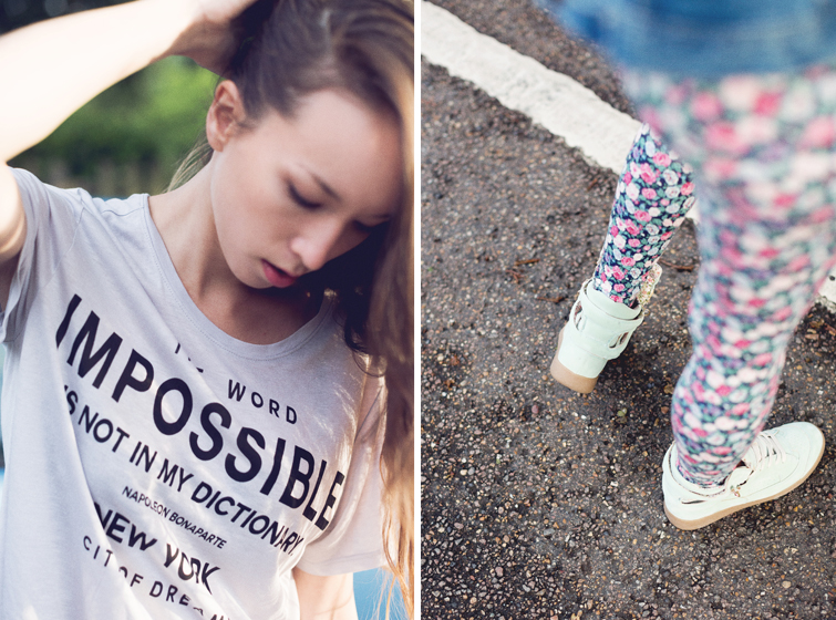 Girl in the Lens | impossible tee and floral leggings