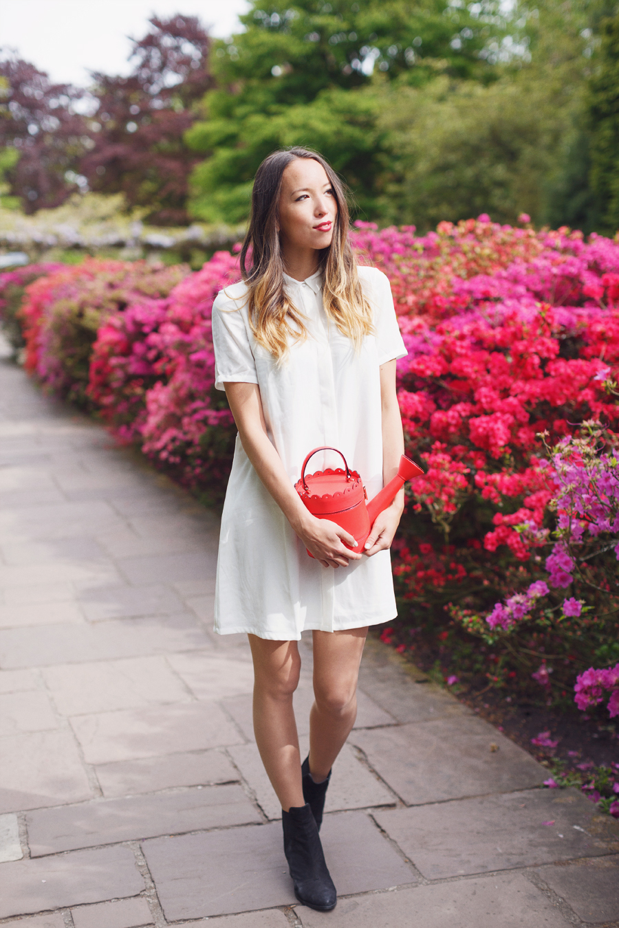 White summer shirt dress, Kate Spade watering can bag and ASOS black boots