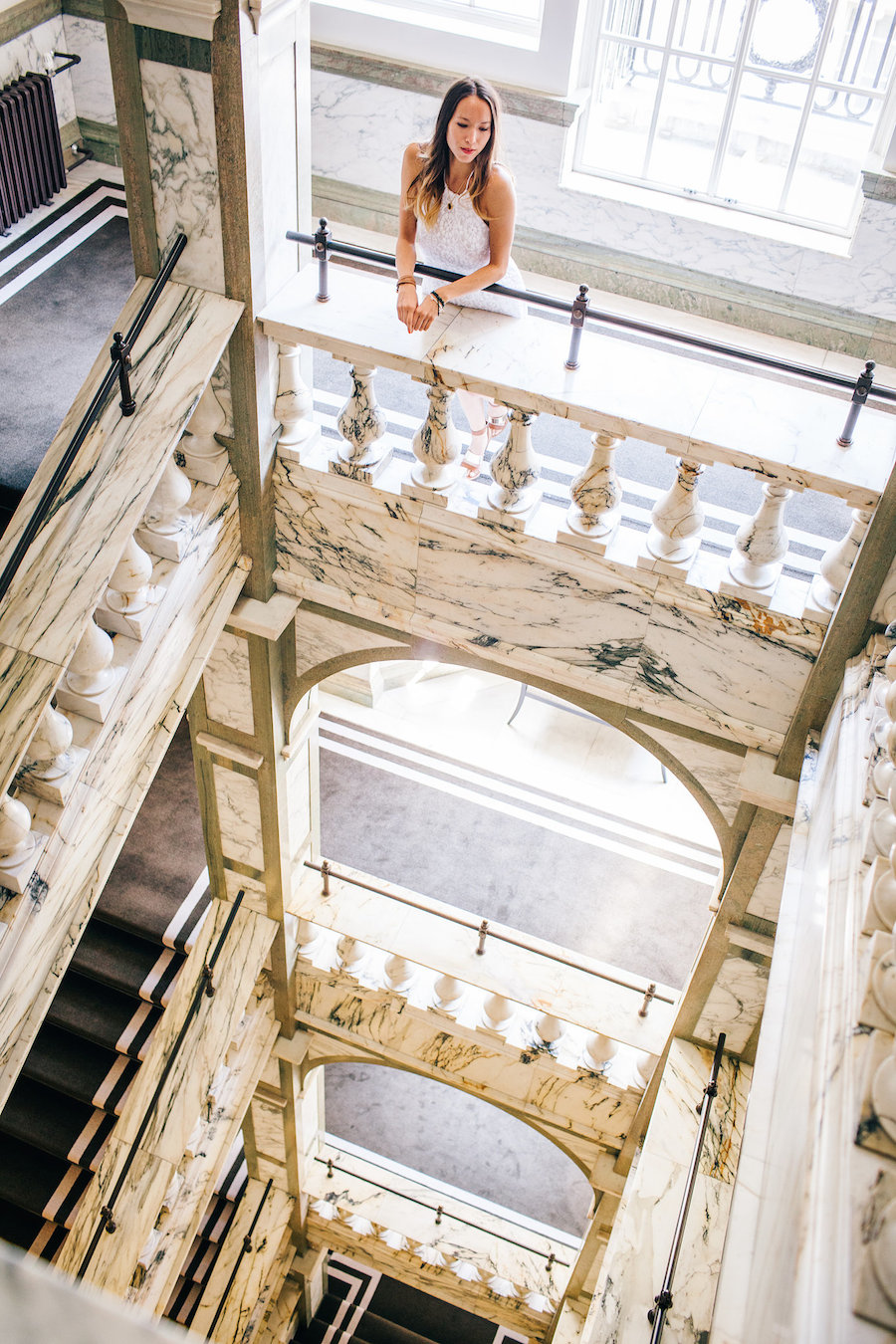 The Rosewood London hotel, marble staircase photoshoot