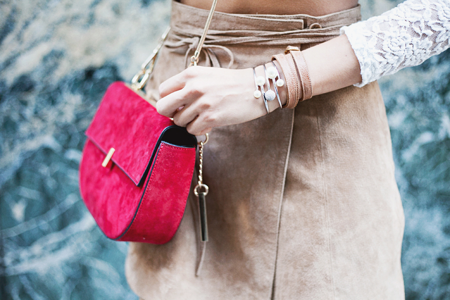 Dune Evita red crossbody bag, Rebecca Jewellery silver pearl cuff, Cinderela B leather wrist wrap