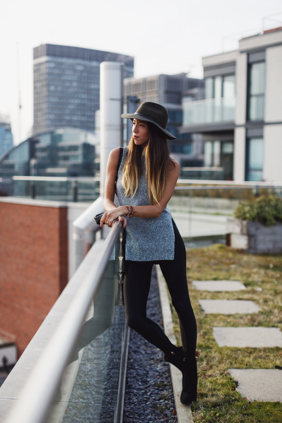 Girl in the Lens fashion blogger outfit grey black street style