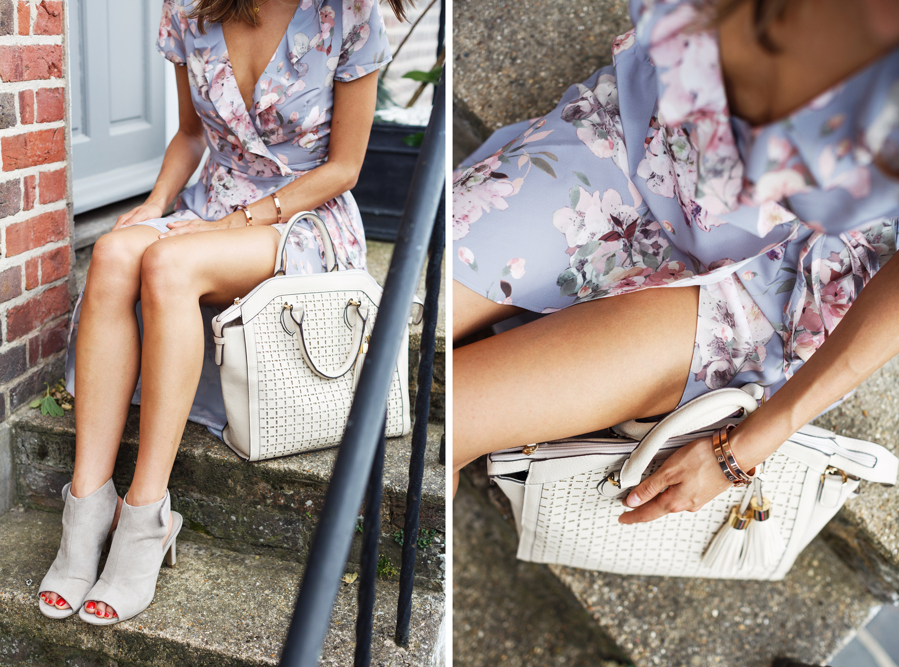 Pastel floral dress and nude accessories