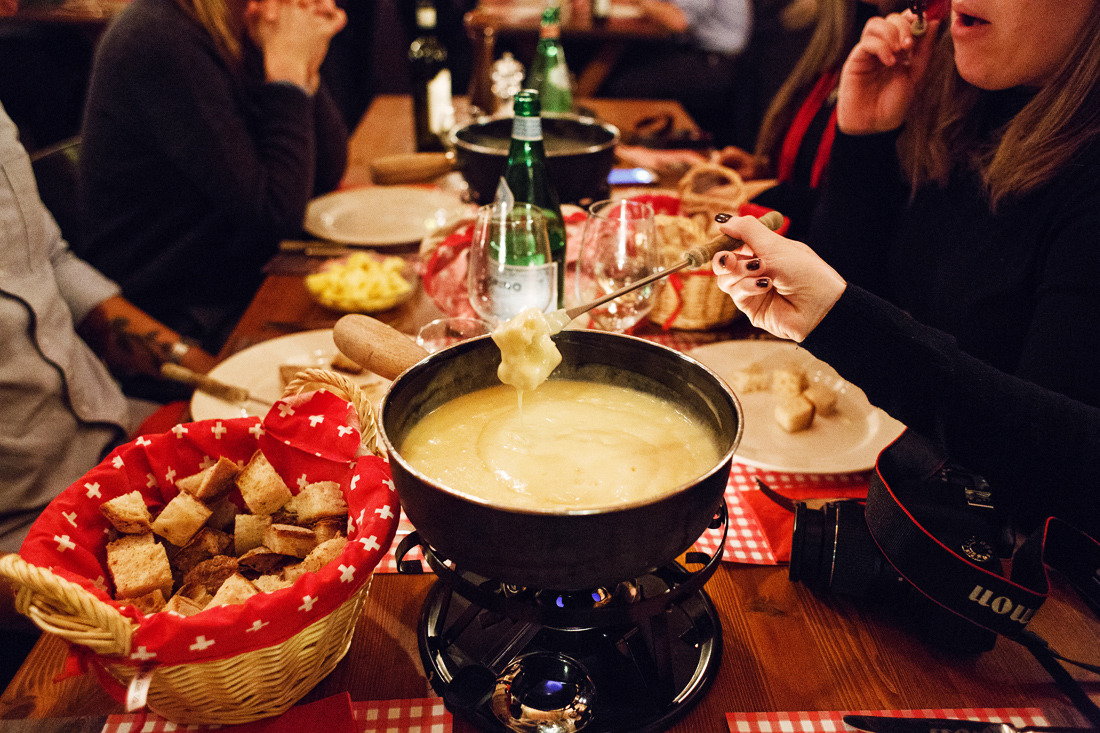 Fondue at Restaurant Kunsthalle, Basel Switzerland